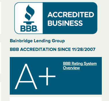 Better Business Bureau A+ Bainbridge Lending Group